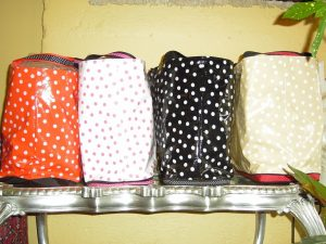 Dots - Orange w white, white w pink, black w white, tan w white. $45