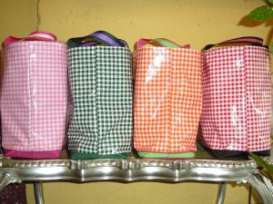Check totes - pink w white, green w white, orange w white, red w white. $45