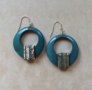 Bead Dreams Design $25 - Handmade turquoise color beaded earrings